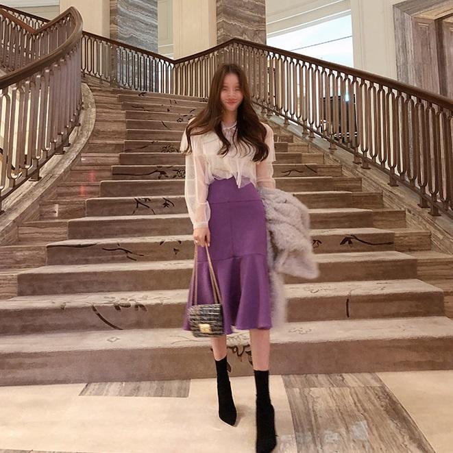韩国官网代购半身W美腰包高比例臀鱼尾裙显瘦秋冬裙2色