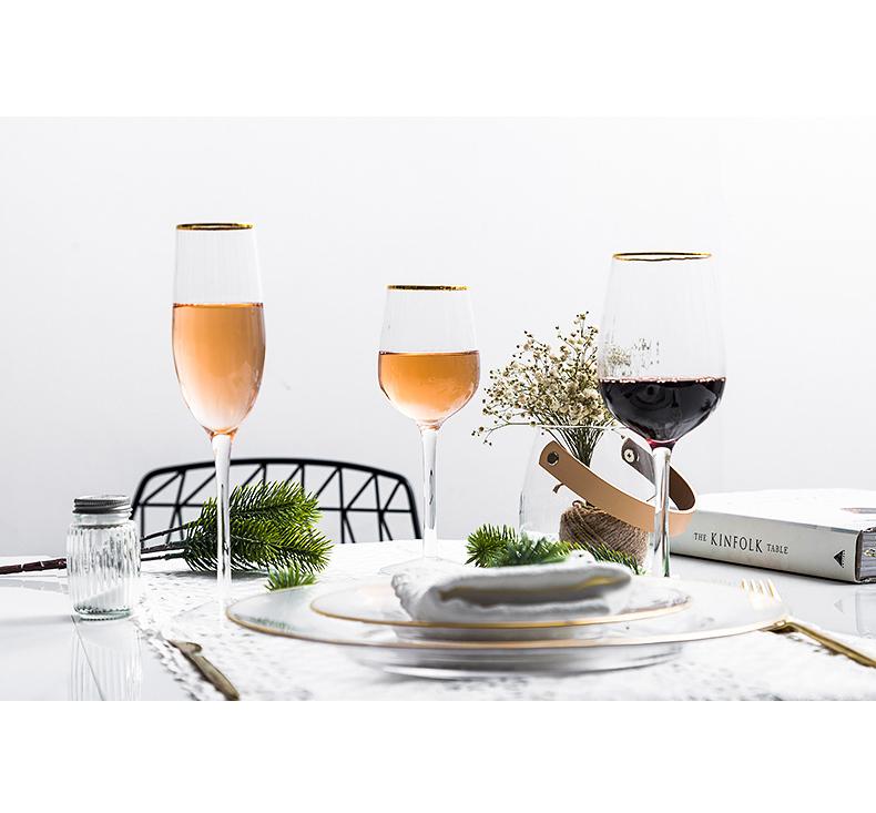 瓷魂杯子轻奢金边锤纹玻璃杯创意个性潮高脚葡萄酒红酒杯家用