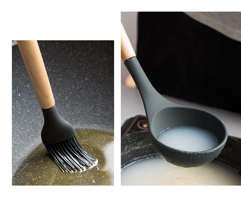 瓷魂日式硅胶锅铲套装长柄木勺厨房耐高温木柄铲子不粘锅全套勺铲