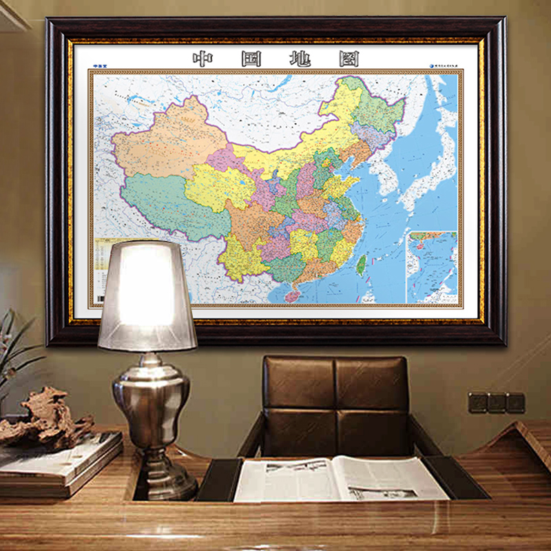 USD 60.89] 2018 New China map wall map world map frame magnetic ...
