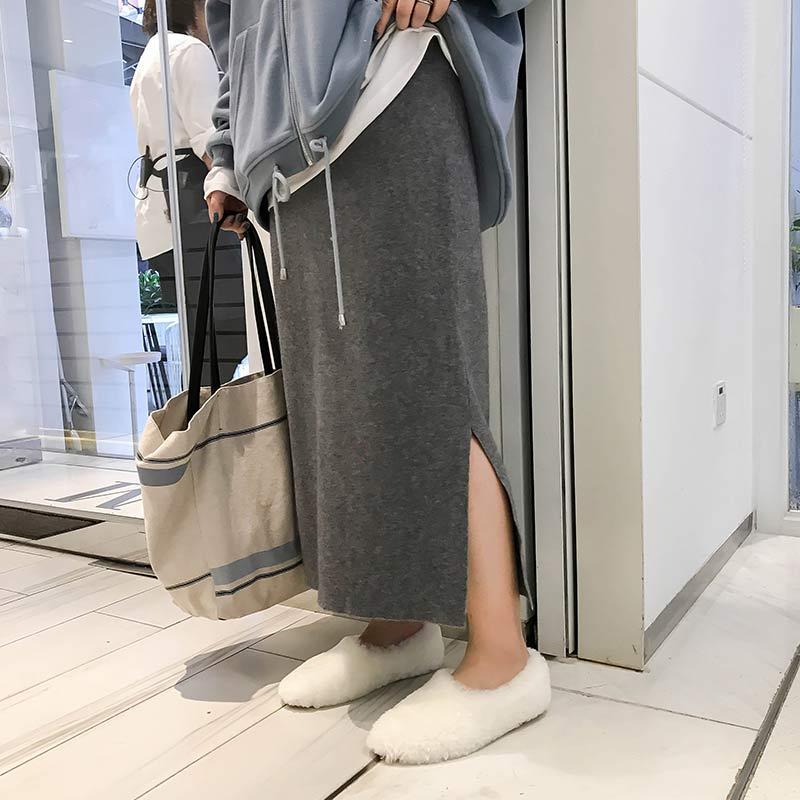 胖mm包臀裙秋装2018新款韩版侧开叉大码半身裙女中长款高腰一步裙
