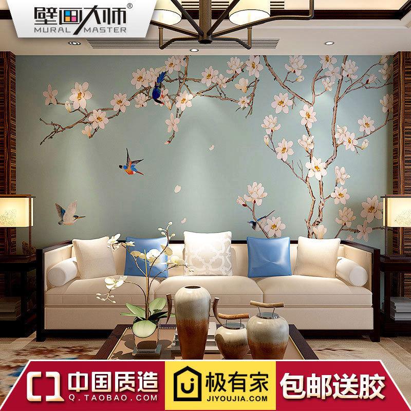 现代新中式电视背景花鸟壁画墙墙布古典背景壁纸墙沙发定制客厅3D