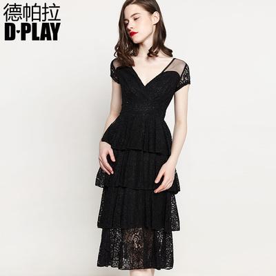 DPLAY2018 đầu mùa xuân mới Châu Âu và Mỹ đen V-Cổ bánh ren váy eo cao váy dài váy váy đen Sản phẩm HOT