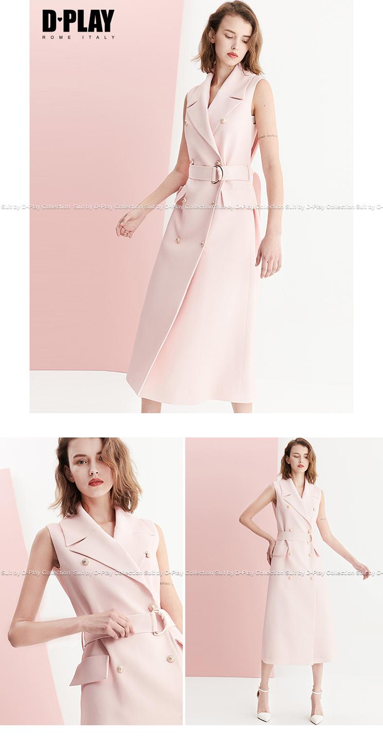 DPLAY2018 mùa hè mới Châu Âu và Mỹ ánh sáng màu hồng phù hợp với cổ áo đôi ngực vành đai mỏng vest váy