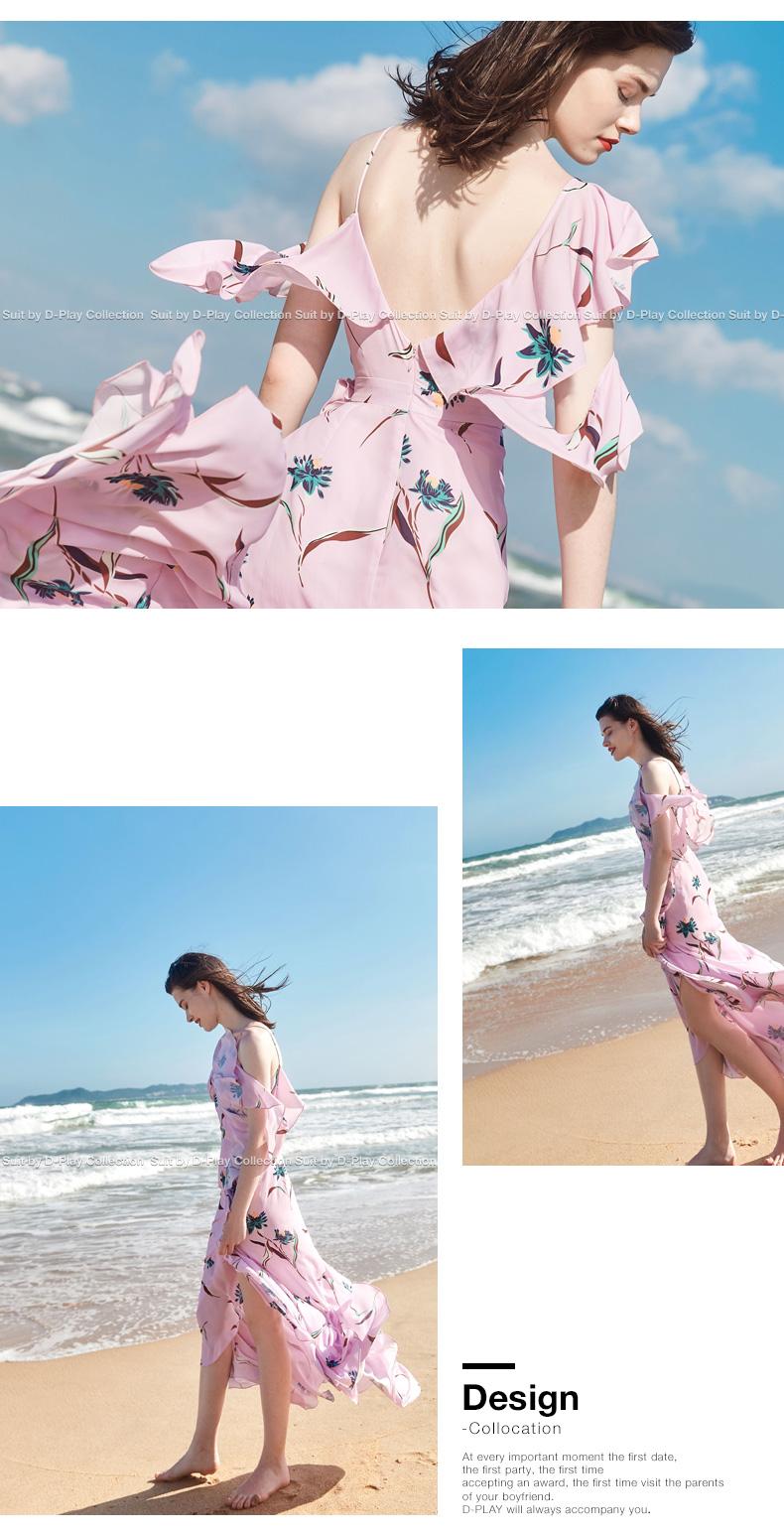 DPLAY2018 Mùa hè Mới Châu Âu và Mỹ Nền Tảng In Dây Đeo Rò Rỉ-vai Xù Dài Bãi Biển Váy