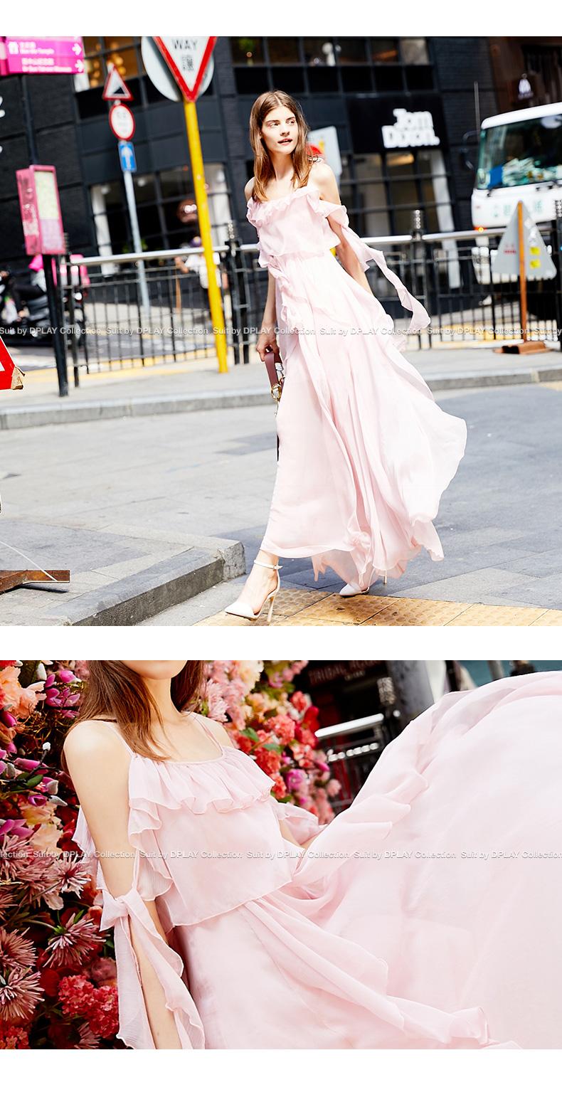 DPLAY Depala 2018 Mùa Hè Mới Hồng Sling Xù Arm Banded Voan Váy chic Dress