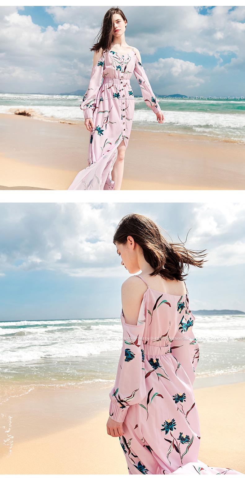 DPLAY2018 mùa xuân và mùa hè mới Châu Âu và Mỹ hồng in strapless dài tay voan váy V-Cổ đơn ngực bãi biển váy