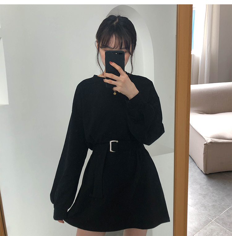 korean style long sleeve dress with belt for girls,It's a good choice.