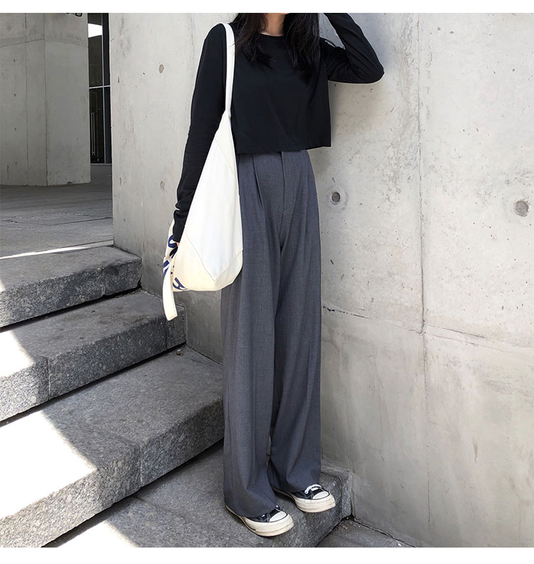 O1CN01mUL1S91FRFqgTbHOZ !!470100483 - S-L 2 colors Casual Straight Suit Pants Women High Waist Pant Office Lady wide leg Long Trousers womens (X580)