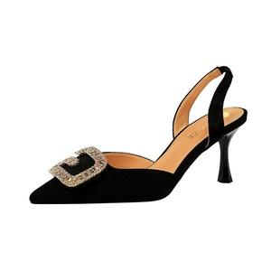 X-21880# 欧美风宴会女鞋高跟浅口尖头绒面镂空后绊带金属水钻扣凉鞋 女鞋批发鞋子批发