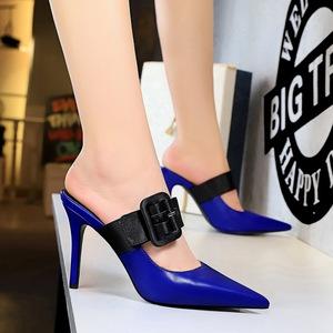 X-21347# 欧美风时尚简约包头拖细跟高跟浅口尖头一字带皮带扣女拖鞋