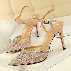 X-21543# 韩版时尚性感女鞋细跟高跟浅口尖头网状镂空水钻一字带凉鞋