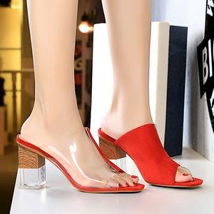 X-21538# 韩版时尚拼色水晶跟高跟绒面透明拼接镂空一字鱼嘴女拖鞋