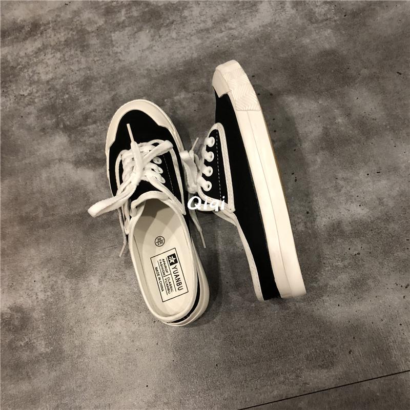 新款无跟帆布鞋女鞋子女秋季小白懒人鞋女一脚蹬半拖板鞋半拖详细照片