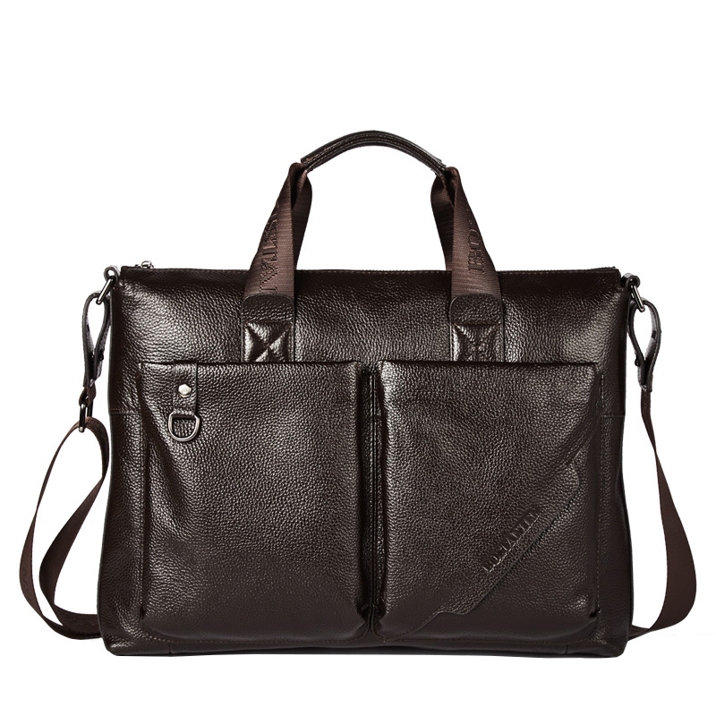 d1c7eb1e2a Leather one shoulder slung business portable briefcase men s bag casual  cross section large capacity first layer cowhide soft leather