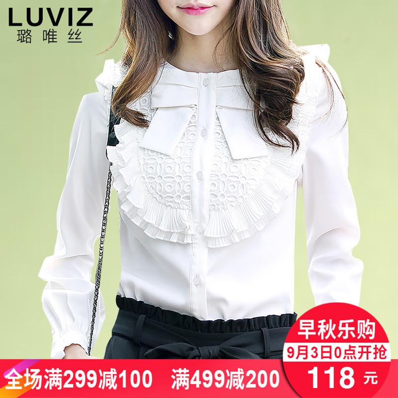 Áo sơ mi dài tay mùa thu phụ nữ 2018 mới hoang dã đáy áo mỏng nước ngoài áo sơ mi nhỏ xù áo sơ mi trắng