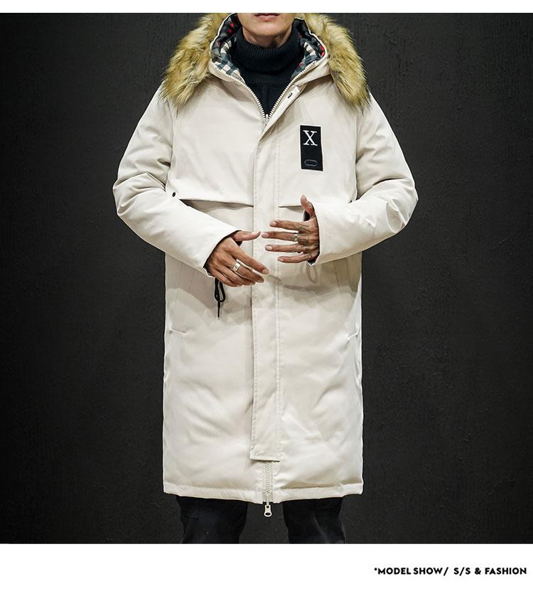 2019冬季新日系黑墙大码男大毛领两面穿抽绳中长款棉衣M729-P150