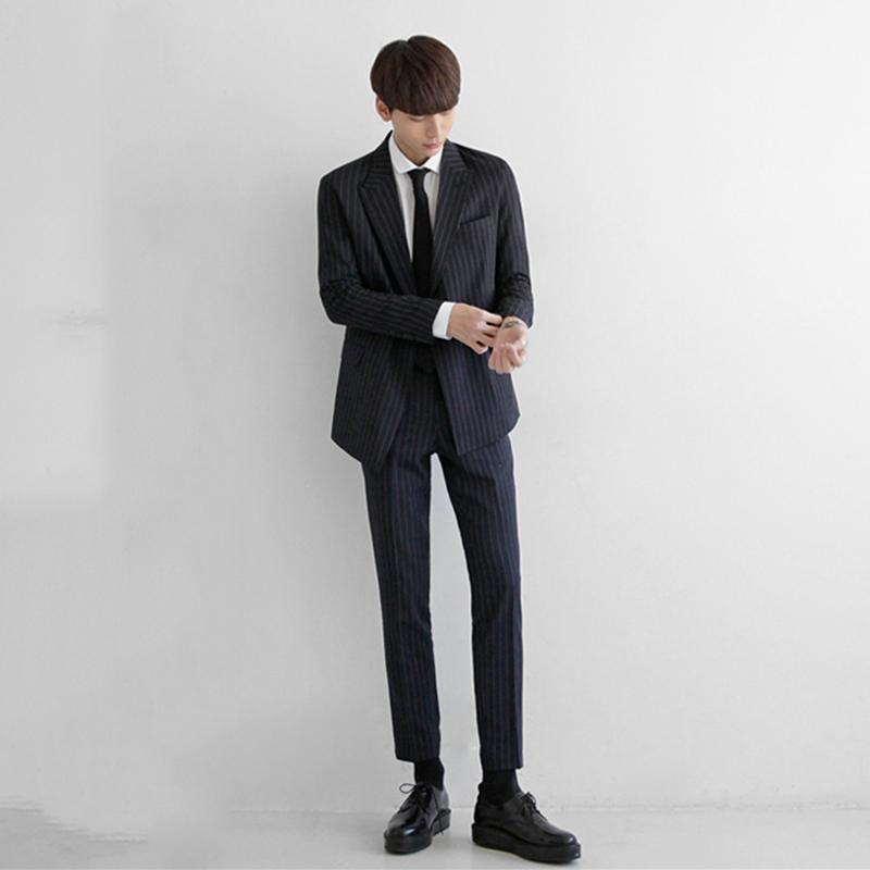 韩版双排扣小西服男男士英伦风宽松外套v男士套装西装网红正装条纹