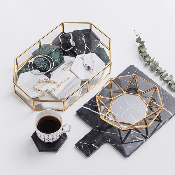北欧风复古铜条玻璃盘  首饰收纳托盘欧式甜品水果盘家用茶几置...