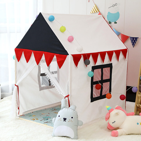 Net red INS solid wood children's tent princess castle game house men's baby room big house baby toy bed