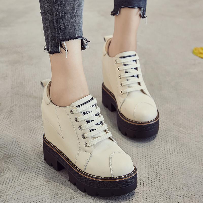 欧洲站内增高11CM高帮厚底v松糕松糕鞋潮棉鞋女鞋秋冬新款女鞋子