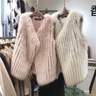 2018秋冬新款宽松海宁狐狸毛仿皮草马甲女中长款皮毛一体毛绒外套