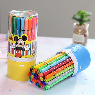 迪士尼水彩笔套装彩色笔安全可水洗印章画笔儿童幼儿园小学生用宝宝颜色笔双头专业美术绘画24色36色软头涂鸦