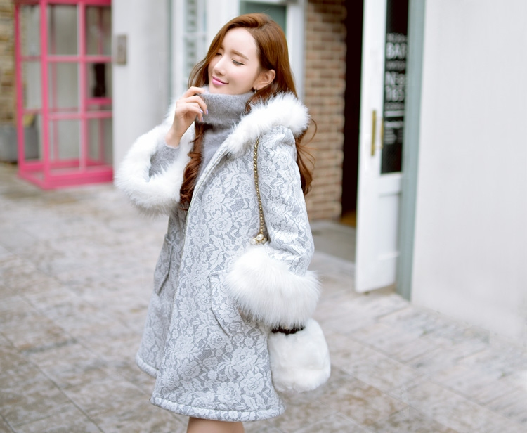 dabuwawa 2016 long parka plus size winter fur hooded lace coat for women long korean slim elegant manteau hiver femme pink doll