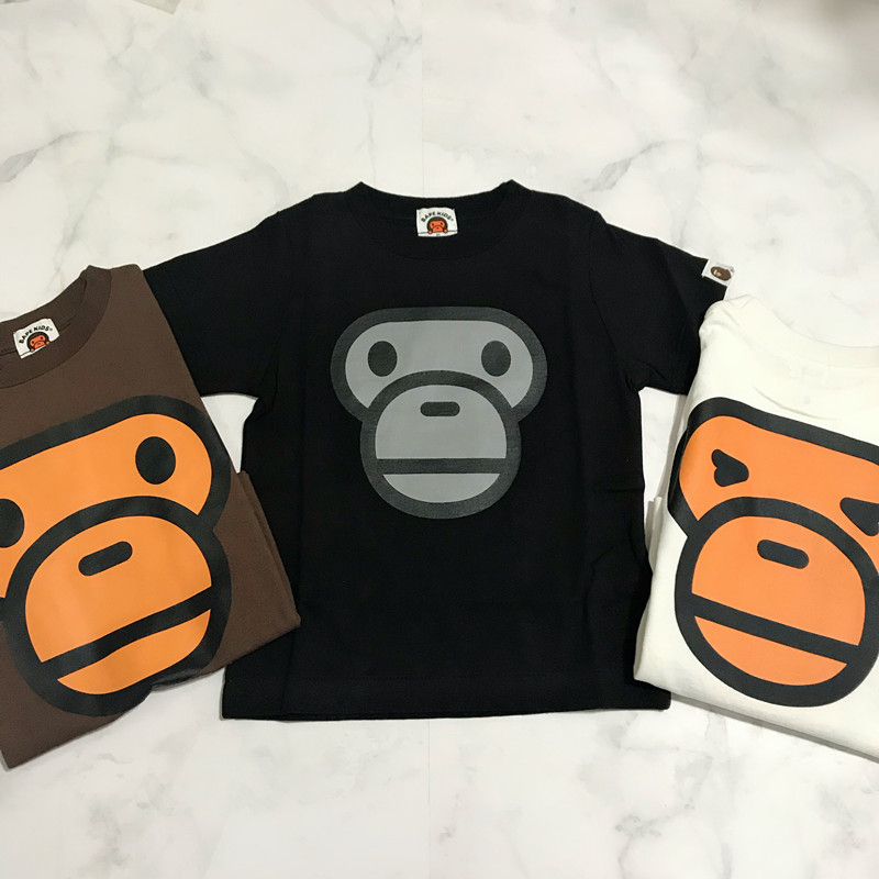 4ad32ce2c Maple blue tide goods BAPE KIDS double-sided monkey face three-color round  neck short-sleeved T-shirt children's clothing
