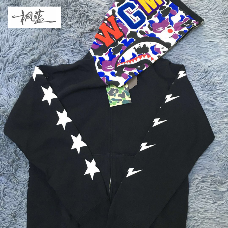 4268fc92c3c3 ... Maple Blue Trendy BAPE China Hong Kong 10th Anniversary Limited  Causeway Bay Color Black Shark Sweater