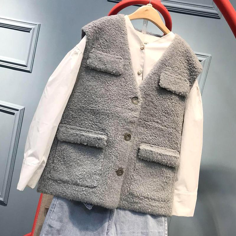 Mùa xuân và mùa thu mới len hạt lông áo ghi lê lông cừu áo khoác vest phụ nữ áo khoác lông ngắn - Faux Fur