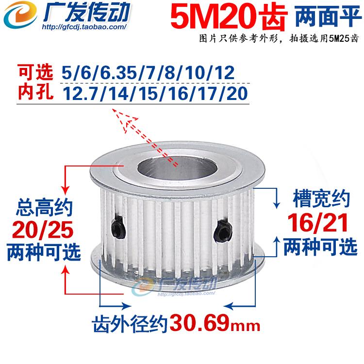 Обе стороны квартира синхронный круглый 5M20 зуб T через отверстие обе стороны квартира синхронный шкив AF тип отверстие 5-20mm