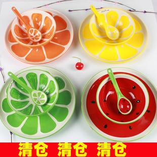 Чашка Ручная роспись ваза для фруктов из арбуза миску риса миску десерт чаши Японский творческий керамическая посуда набор детский мультфильм
