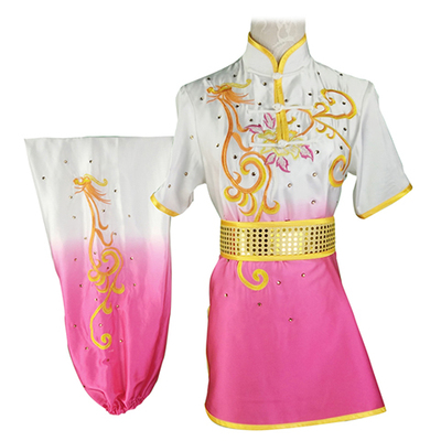 Chinese Martial Arts Clothes Kungfu Clothe  Tai Chi Wushu Performance Competition Colorful Clothes Dress Female Adult Children Embroidery Gradually Transition Rosy Red