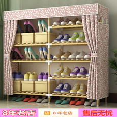 Simple shoe rack home economical solid wood multilayer dustproof space saving shoe cabinet simple cloth dormitory female special offer