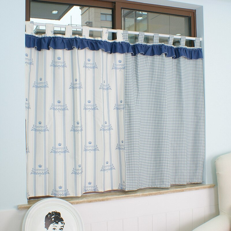 Curtains finished fresh rural pastoral Korean bedroom finished small  curtains kitchen bathroom semi-curtain coffee curtain