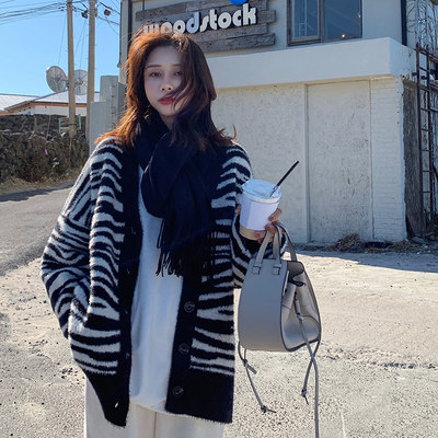 EKOOL mohair thick sweater cardigan women autumn and winter new style striped color matching loose V-neck knitted cardigan jacket