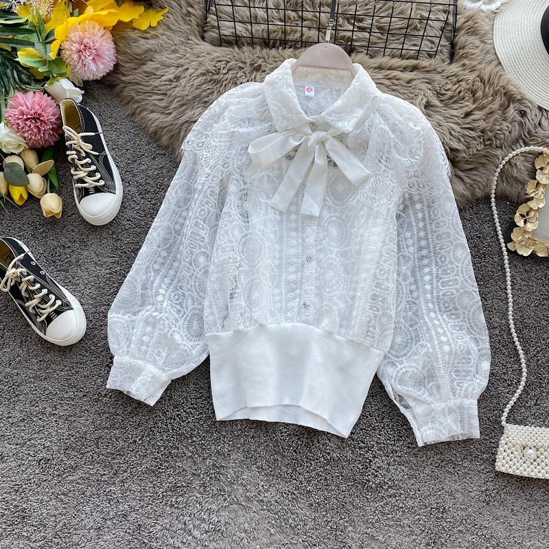 Западный стиль кукла воротник кружево короткая женская весна новый корейский свободный длинный рукав дизайн смысл небольшой многие свет спелый супер куртка 609534895553