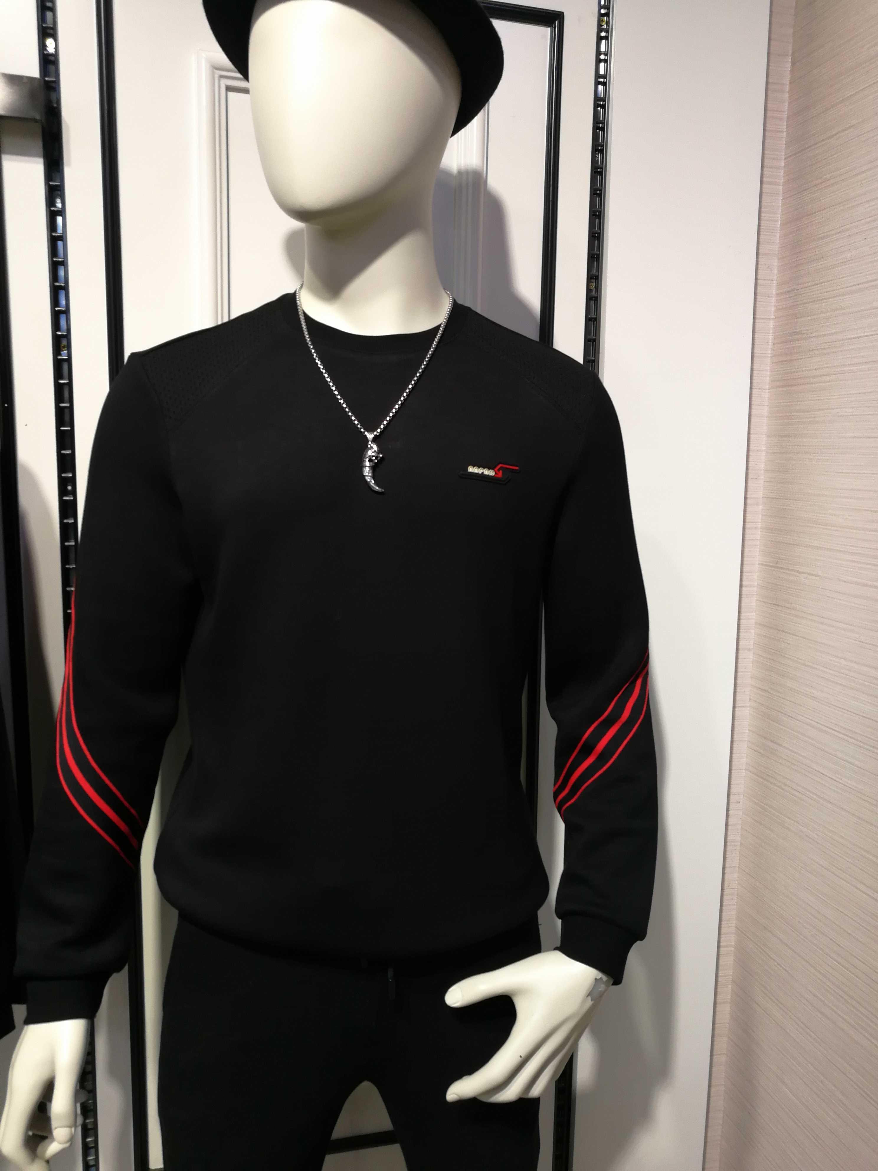 男装内塔卫衣黑色T恤豪威堡时尚潮流秋冬圆领纯男士中青年套头衫