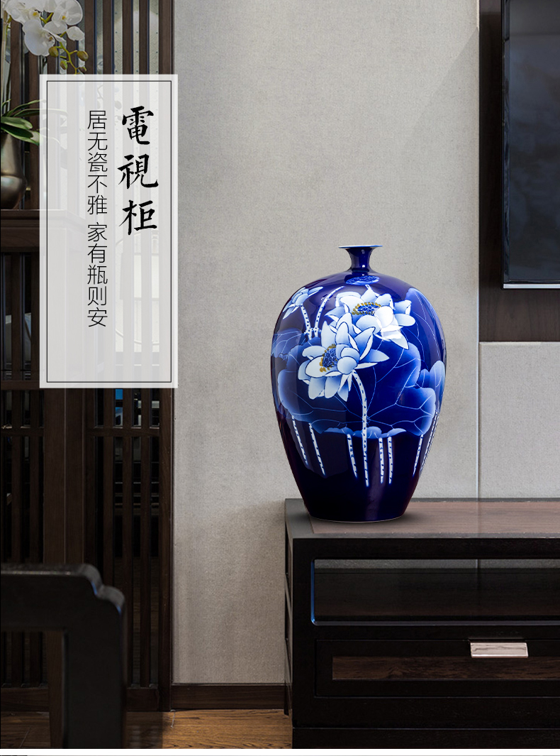 Jingdezhen porcelain ceramic hand - made lotus of blue and white porcelain vase furnishing articles rich ancient frame the sitting room of Chinese style household ornaments