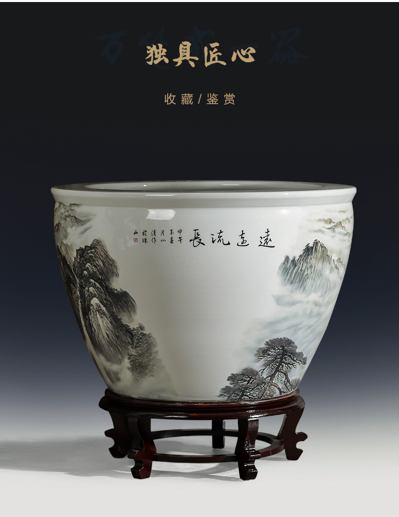 Jingdezhen ceramics large aquarium goldfish turtle cylinder water lily to heavy copper grass hydroponic garden furnishing articles sitting room