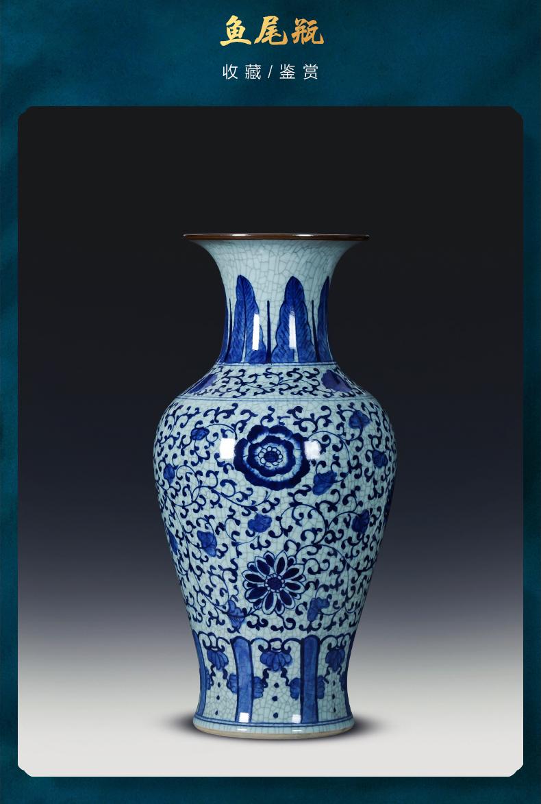 Jingdezhen porcelain ceramic hand - made archaize up big blue and white porcelain vase landed furnishing articles sitting room adornment restoring ancient ways