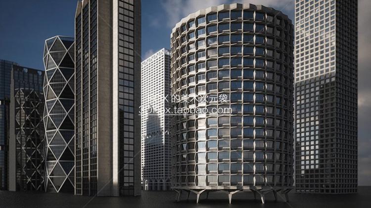 摩天大楼 现代城市3D次时代建筑PBR模型素材