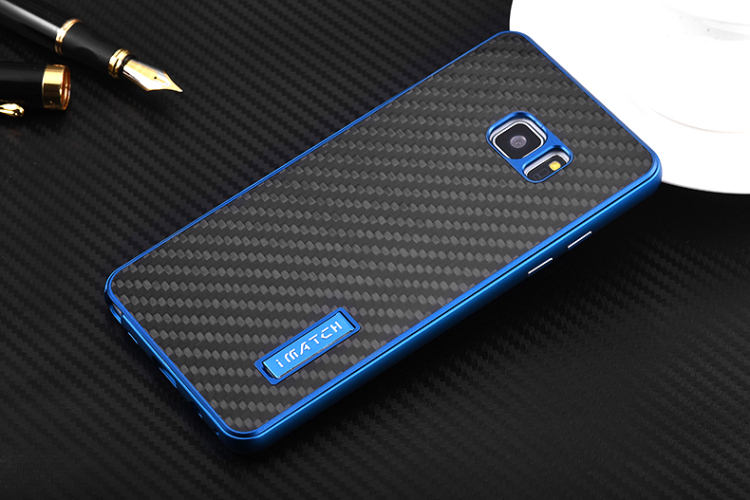 iMatch Luxury Aluminum Metal Bumper Carbon Fiber Back Cover Case for Samsung Galaxy Note 7 N9300