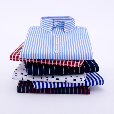 条纹衬衫男长袖秋季商务休闲印花蓝白男士宽松衬衣中青年爸爸装L