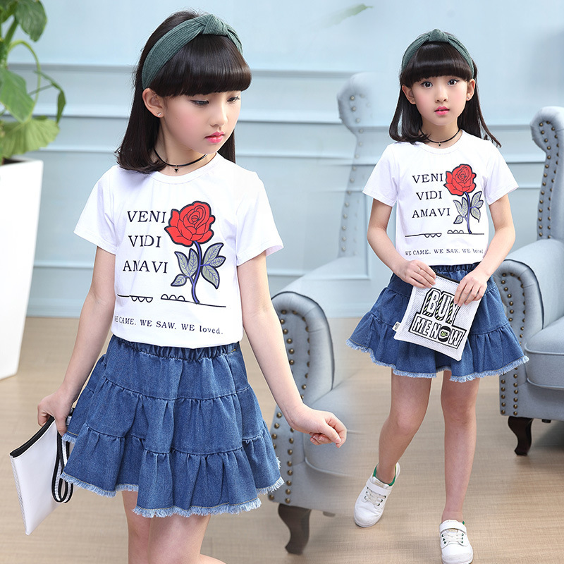 bcb376631 5 children s clothing 7 girls summer suit 6 Summer 2019 New 9-10 girls  fashion two-piece skirt 8 tide 12 years old
