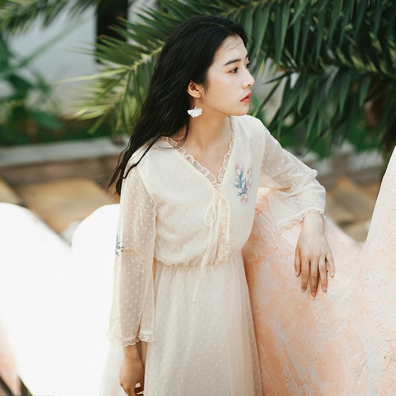 Слива спелый были литература и искусство рукав шифон долго юбка ретро тендер ветер платье женщина 2018 новая весна модель