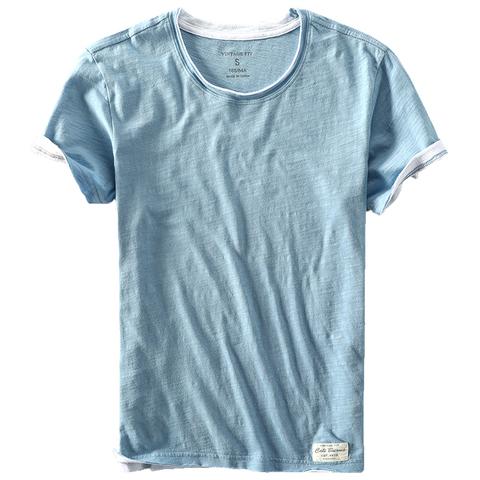 新款男士休闲T恤纯棉水洗竹节棉卷边破边纯色短袖圆领全棉薄款T恤