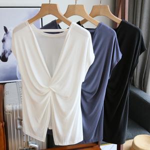 性感露背丝滑小众设计感莫代尔白色T恤女