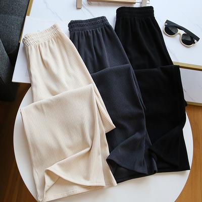 不会皱的阔腿裤~巨显瘦!白色丝绒宽松长裤子女高腰垂感秋冬加绒